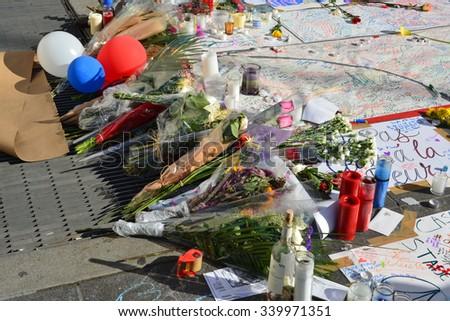 New York City, USA - November 16, 2015: Memorial in Washington Square Park in response to the terrorist attacks in Paris in New York City.  - stock photo