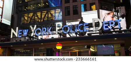New York City, USA - November 3: NYPD office at Times Square in New York City, USA on November 3, 2014.  - stock photo