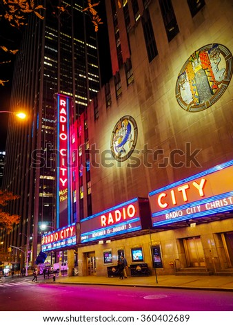 NEW YORK CITY, USA - NOVEMBER 28, 2015: Radio City Music Hall in Rockefeller Center is one of the New York City landmark. - stock photo