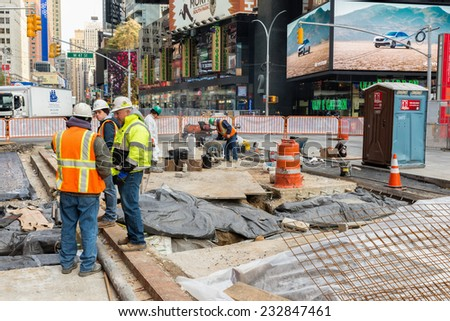 NEW YORK CITY, USA - NOVEMBER 20, 2014 : Road Construction and  Road Works in Times Square NYC - stock photo