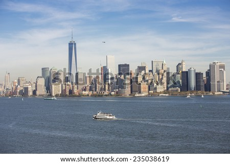 New York City, USA - November 4: View of a touristic ferry boat on Hudson River near New York City, USA on November 4, 2014. - stock photo