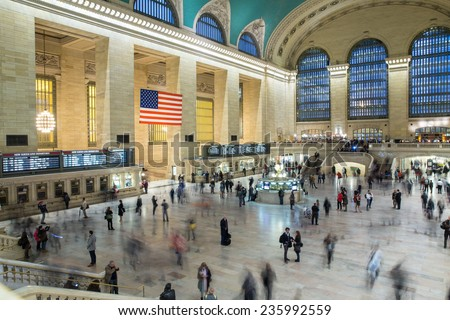 New York City, USA - November 6: View of the Grand Central Station in New York City, USA on November 6, 2014.