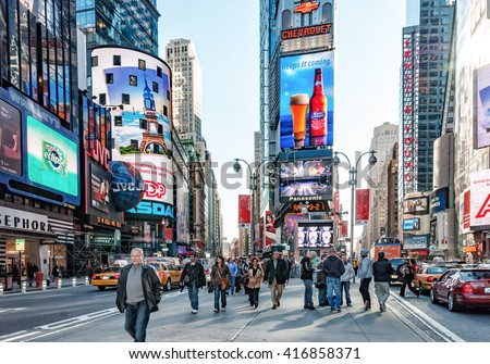 NEW YORK CITY, USA - Oct 23, 2008: NYC Times Square  NYC situated on one of the world's largest natural harbors with five boroughs - Brooklyn, Queens, Manhattan, the Bronx, Staten Island - stock photo