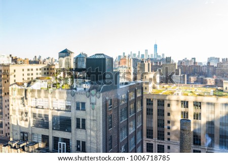 New York City, USA - October 27, 2017: Aerial view of urban cityscape, skyline, rooftop garden building skyscrapers in NYC Chelsea West Side