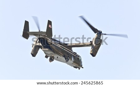 NEW YORK CITY, USA-OCTOBER 5, 2014: MV-22 Osprey. Marine Helicopter Squadron One (HMX-1) is responsible for the transportation of the President of the United States, Vice President and other VIPs - stock photo