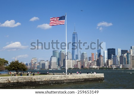 NEW YORK CITY, USA - OCTOBER 6, 2014: New York panorama, One World Trade Center (formerly known as the Freedom Tower) and Ellis Island. Freedom Tower is shown finished with antenna. - stock photo