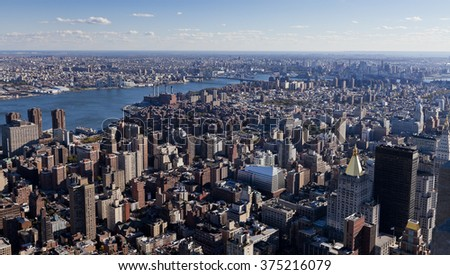 NEW YORK CITY, USA - October 22, 2010: New York  Uptown at dusk, with a Census-estimated population of over 8.4 million in 2013 is the most populous city in the United States - stock photo