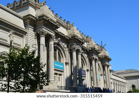 New York City, USA - September 7, 2015: Entrance to the Metropolitan Museum of Art on the Upper East Side of Manhattan in New York City. - stock photo