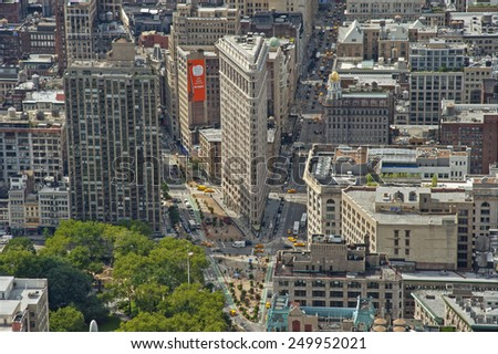 NEW YORK CITY, USA - SEPTEMBER 8: Flatiron Building aerial view from Empire State Building. New York City, USA sept 8 2011 - stock photo