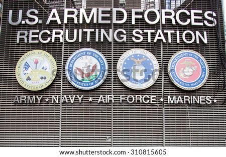 NEW YORK CITY, USA - SEPTEMBER, 2014: US armed forces recruiting station on Times Square New York City - stock photo