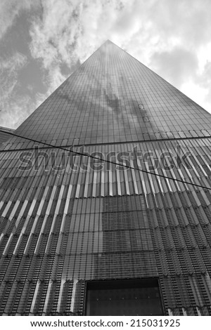 New York City, USA - September 1, 2014: View of the nearly completed World Trade Center Tower One at Ground Zero in New York City.  - stock photo