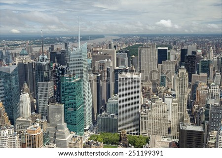NEW YORK CITY, USA - SEPTEMBER 8: View over New York city from Empire State building. New York City, USA sept 8 2011 - stock photo