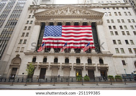 NEW YORK CITY, USA - SEPTEMBER 7: Wall Street and New York Stock Exchange on a rainy day. New York City, USA sept 7 2011 - stock photo