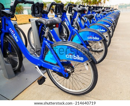 NEW YORK CITY, USA - 31ST AUGUST 2014: Citi Bikes in New York City at docking stations