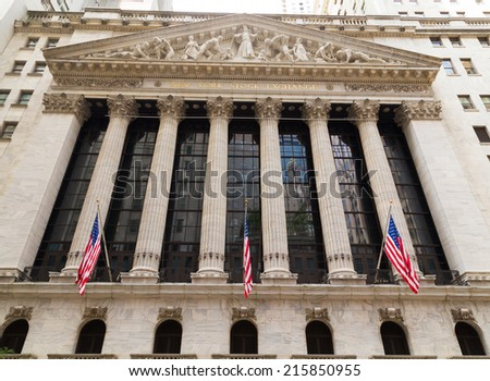 NEW YORK CITY, USA - 1ST SEPTEMBER 2014: The outside of the New York Stock Exchange during the day - stock photo