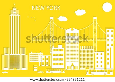 New York city vector skyline in style of paper cut. - stock photo