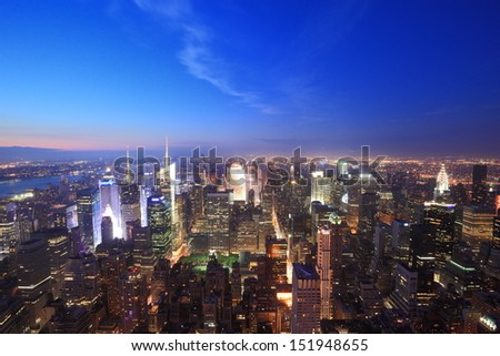 New York city view at evening - stock photo