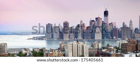 New York City - view from Brooklyn Heights on Manhattan - stock photo
