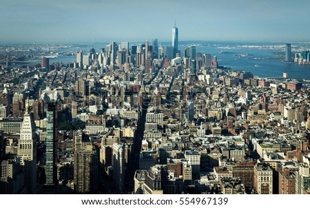 New York City, view from Empire State Building of Downtown Manhattan.