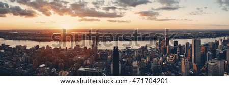 New York City west side urban cityscape panorama view at sunset.