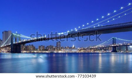 New York City with beautiful view of Brooklyn and Manhattan Bridge