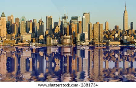 New York City with Reflection - stock photo