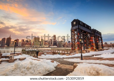 New York City with skyscrapers from Long Island - stock photo