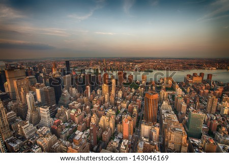 New York City. Wonderful Manhattan  skyscrapers aerial view from the top of Empire State Building. - stock photo