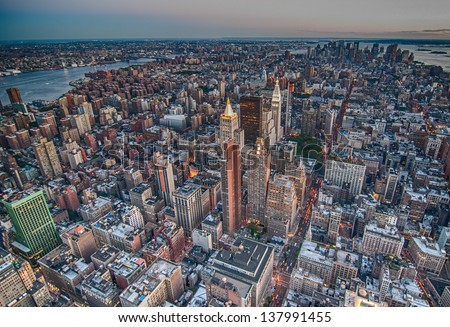 New York City. Wonderful view of Manhattan Skyscrapers. - stock photo