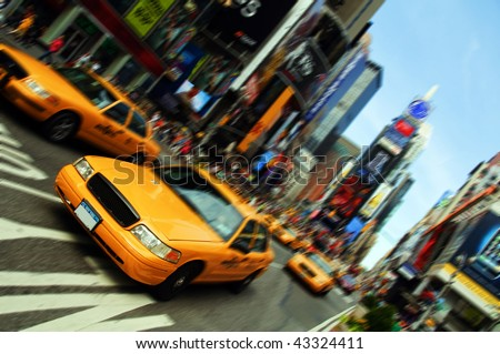New York City Yellow Cab Taxi, Times Square Skyline Cityscape. Epic vivid New York NYC tourist landmark from America.