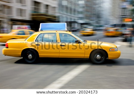 New York city yellow taxi on a busy road - stock photo