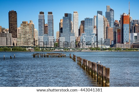 New York cityscape from New Jersey / beautiful cityscape with old pier in foreground