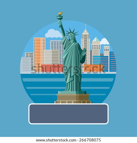 New york cityscape. Manhattan Skyline and Statue of Liberty, New York City. Poster concept in cartoon style with text. Raster version - stock photo