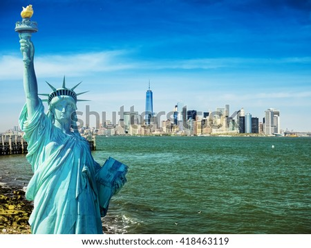 new york cityscape, tourism concept photograph state of liberty, lower manhattan skyline - stock photo