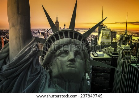 New York cityscape with The Statue of Liberty - stock photo