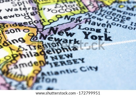 new york close up on map, shallow depth of field - stock photo