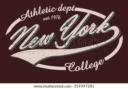 New York College T-shirt design print, New York City Typography Graphics, New-York  College jersey print  USA, New York tee stamp, New York Fashion Typography Graphics. New York Sport T-shirt Design.