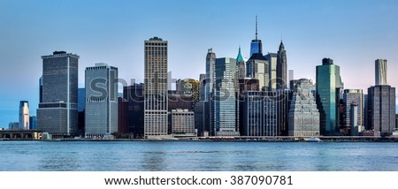 New York. Colorful view of Manhattan in the early morning - stock photo