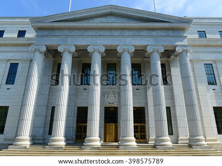 New York Court of Appeals Building was built with Greek Revival style in 1842 in downtown Albany, New York State, USA - stock photo