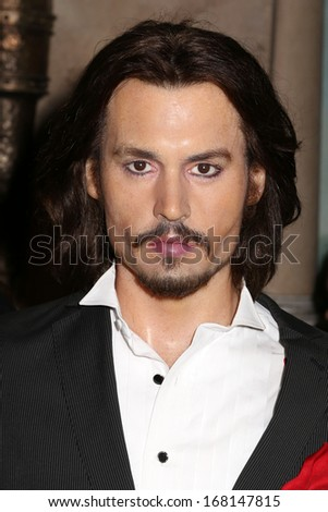 NEW YORK - Dec 6: A wax figure of Johnny Depp is seen on display at Madame Tussauds on December 6, 2013 in New York City.