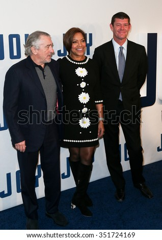"NEW YORK-DEC 13: Actor Robert De Niro, model Grace Hightower and businessman James Packer attend the ""Joy"" premiere at the Ziegfeld Theatre on December 13, 2015 in New York City. - stock photo"