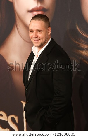 """NEW YORK-DEC 10: Actor Russell Crowe attends the premiere of """"Les Miserables"""" at the Ziegfeld Theatre on December 10, 2012 in New York City. - stock photo"""
