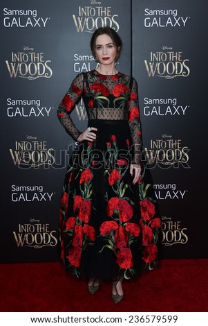 "NEW YORK-DEC 8: Actress Emily Blunt attends the ""Into The Woods"" premiere at the Ziegfeld Theatre on December 8, 2014 in New York City. - stock photo"