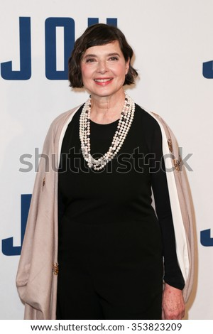"""NEW YORK-DEC 13: Actress Isabella Rossellini attends the """"Joy"""" premiere at the Ziegfeld Theatre on December 13, 2015 in New York City. - stock photo"""