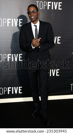"NEW YORK-DEC 3: Comedian/actor Chris Rock attends the ""Top Five"" premiere at the Ziegfeld Theatre on December 3, 2014 in New York City. - stock photo"