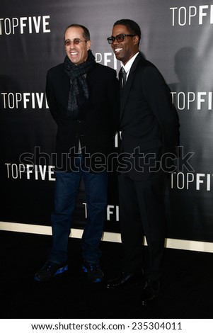 "NEW YORK-DEC 3: Comedian/actors Jerry Seinfeld (L) and Chris Rock attend the ""Top Five"" premiere at the Ziegfeld Theatre on December 3, 2014 in New York City. - stock photo"