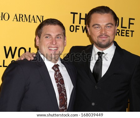 "NEW YORK - DEC 17: Jonah Hill and Leonardo DiCaprio attend the premiere of ""The Wolf Of Wall Street"" at the Ziegfeld Theater on December 17, 2013 in New York City. - stock photo"