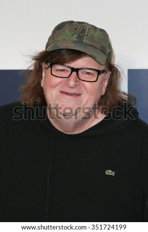 """NEW YORK-DEC 13: Michael Moore attends the """"Joy"""" premiere at the Ziegfeld Theatre on December 13, 2015 in New York City. - stock photo"""