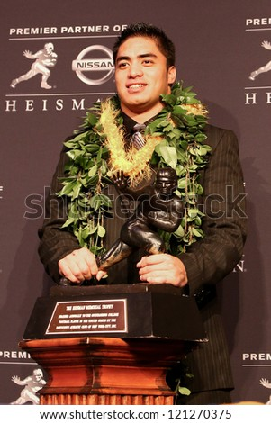 NEW YORK-DEC 8: Notre Dame linebacker Manti Te'o attends the 2012 Heisman finalists press conference at the Marriott Marquis on December 8, 2012 in New York City. - stock photo