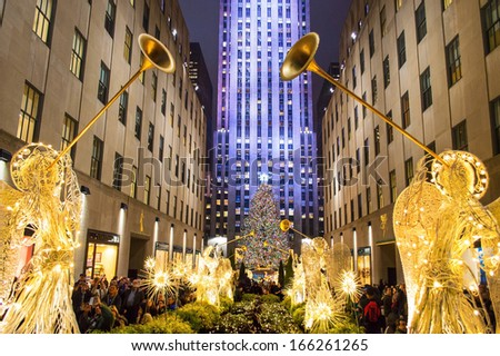 NEW YORK-DEC 5: Rockefeller Center all decorated surrounding the newly lit Christmas tree on December 5, 2013. - stock photo